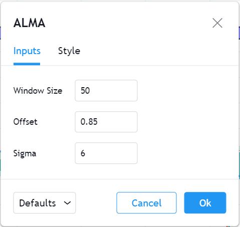 تنظیمات اندیکاتور ALMA